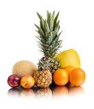 Still life multifruit. Still life of  multi-coloured fruits , on white background, isolated Royalty Free Stock Image