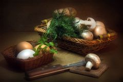 Still Life with mushroom. And eggs Stock Photos
