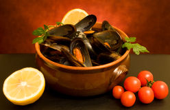 Still Life With Mussels stock photos