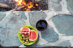Still life near the evening campfire. Stock Photos
