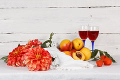 Still life with  nectarine Stock Images