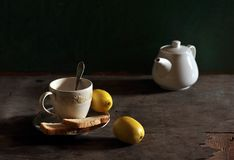 Still life with a not pour tea Royalty Free Stock Photo