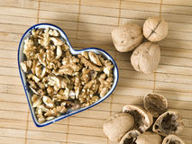 Still Life with nuts forming a heart Royalty Free Stock Images