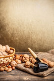 Still life of nuts fruit Royalty Free Stock Images