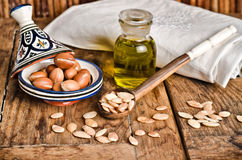 Still Life Of Argan Fruit And Oil Royalty Free Stock Image