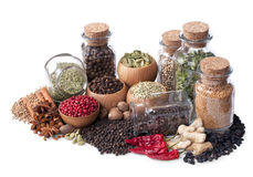 Still Life Of Different Spices And Herbs Stock Photos