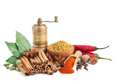 Still Life Of Different Spices And Herbs Stock Photo