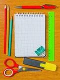 Still life of office supplies with a notebook Stock Photo