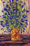Still life oil. Bouquet of blue flowers in a yellow vase Royalty Free Stock Photography