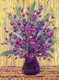 Still life oil. Bouquet of purple flowers. Still life oil. Charming magnificent bouquet of fragrant purple flowers in a dark vase Stock Photos