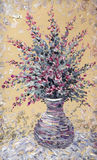 Still life oil. Bouquet of purple flowers in graceful vase Stock Photography