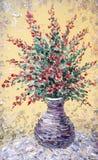 Still life oil. Bouquet of purple flowers in graceful vase. Still life oil. Charming  bouquet of fragrant purple flowers in a graceful vase Stock Image