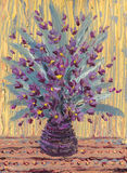 Still life oil. Charming  bouquet of purple flowers Royalty Free Stock Images