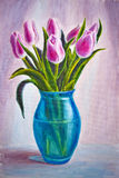 Still life, oil painting on. Still life with tulips and peach, oil painting on canvas Royalty Free Stock Photo