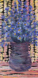 Still life oil painting. Bouquet of blue flowers in dark vase Stock Image