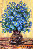 Still life oil painting. Bouquet of blue flowers in a vase. Still life oil painting. Bouquet of blue flowers in a dark vase on yellow background Royalty Free Stock Photo