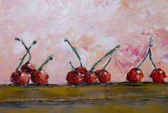 Still life oil painting. A lot of red cherries scattered on the table, abstract background Royalty Free Stock Photography