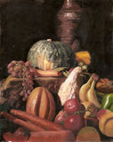 Still life oil painting of various fruits and vegetables Stock Image