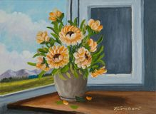 Orange flowers at the window in a beige vase royalty free illustration