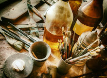 Still life from oil panting installation Royalty Free Stock Image