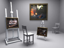 Still life oil - picture 10. Render of oil picture in gallery or painters atelier Royalty Free Stock Images