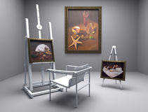 Still life oil - picture 5. Render of oil picture in gallery or painters atelier Royalty Free Stock Photography