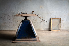 Still life with old blue scales and old photo frame on cement wall Royalty Free Stock Image