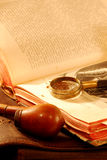 Still-life with an old book. A pipe, tobacco and magnifier Stock Images