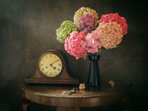 Still life Old Clock. Still life with Old Clock, Hydrangea and keys stock image