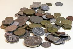 Still life of old coins. Made in study Royalty Free Stock Images