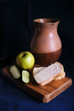 Still Life with old Jug and apple Royalty Free Stock Image