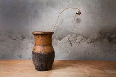 Still-life with an old jug and  dry plant on table Stock Photo