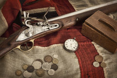 Still Life of an Old Mans Things. An assortment of old items assembled to  historically represent an important past part of some British mans life Royalty Free Stock Photography