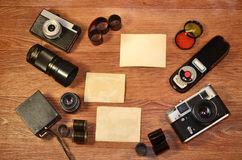 Still-life with old photography equipment Royalty Free Stock Photos