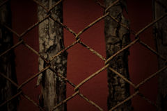Still life old rusty balustrade and wood background  in dark colour Stock Photography