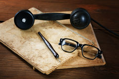 Still-life with old writing-books a nib Royalty Free Stock Photo