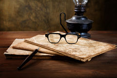 Still-life with old writing-books Royalty Free Stock Photos