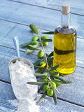 Still life-olive oil, flour and olives Royalty Free Stock Photos