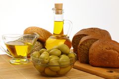 Still life with olive oil, olives and bread Royalty Free Stock Photography