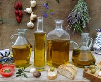 Still life with olive oil Stock Image
