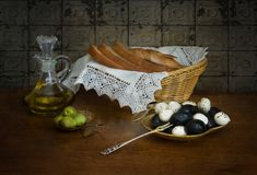 Still life with olives royalty free stock photo
