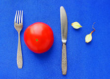 Still life one ripe red tomato Royalty Free Stock Photos