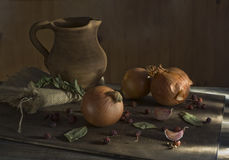 Still-life with onions. Still life with onion and with a clay pitcher Royalty Free Stock Photography