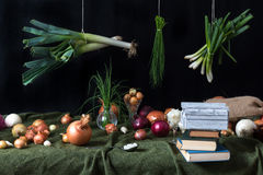 Still life with onions Royalty Free Stock Photos