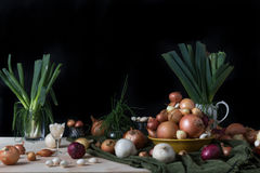 Still life with onions Royalty Free Stock Image