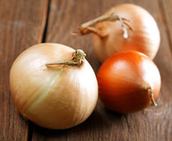 Still life with onions on an table Stock Image