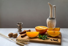 Still life with orange. Royalty Free Stock Image