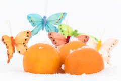 Still life with  oranges and butterflies-decorations on snow. Still life with three oranges and butterflies-decorations on snow Stock Image