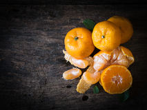 Still life oranges fruit on texture wood. Stock Images