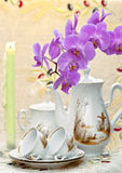 Still life with an orchid and candles Royalty Free Stock Photography